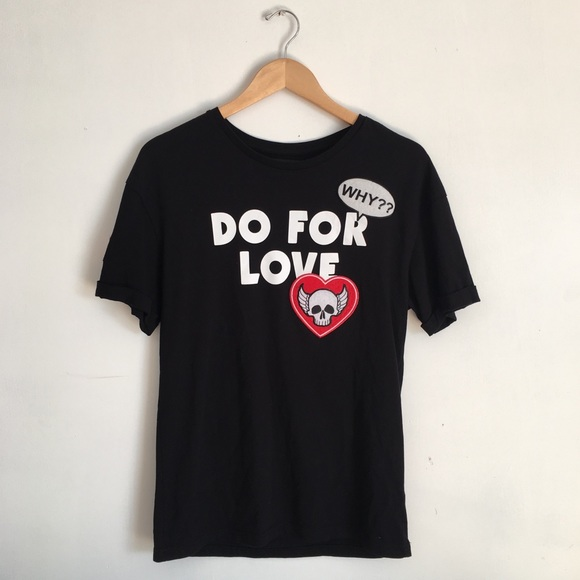 0b9c47b4 Zara Shirts | Men Do For Love Black Patched Tshirt | Poshmark